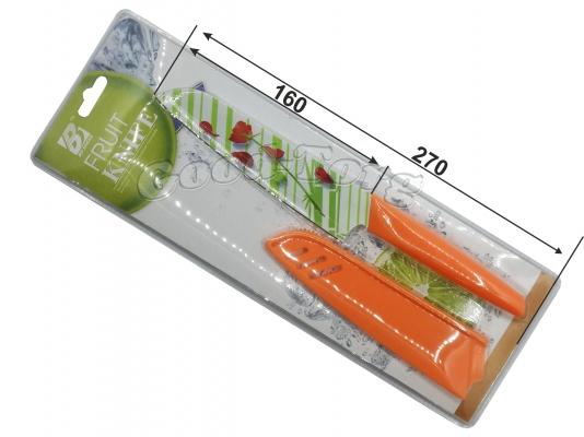 Нож металлокерамика оранжевая ручка на блистере  с чехлом