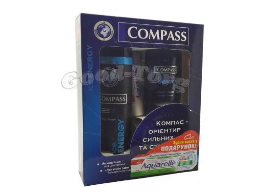 Набор для мужчин Compass ( пена для бритья 200 мл., бальзам после бритья 100 мл., зубная паста Aquarelle )
