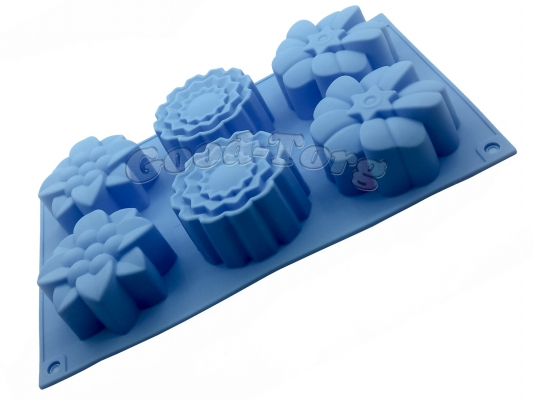 Силиконовая форма для выпечки Цветы асорти 6 Гл. 3.5 см. Дл 27.5 см. Шир. 17.5 см. диам. ячеек 7 см.
