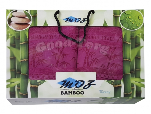 Набор полотенце бамбук Турция 2 шт. цвет малина лицо 35*70 см. + баня 70*140 см.