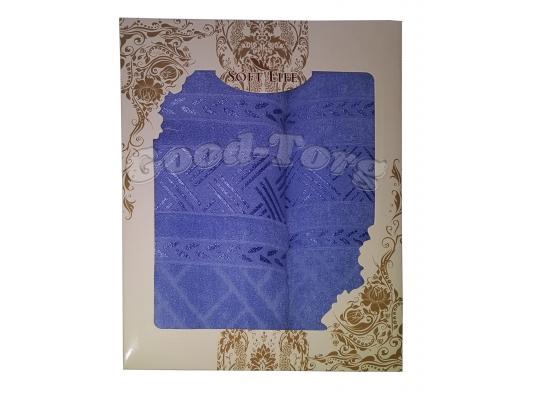 Набор полотенце Венгрия синий цвет. 2 шт. Баня 70×1.4 м + лицо 50×90