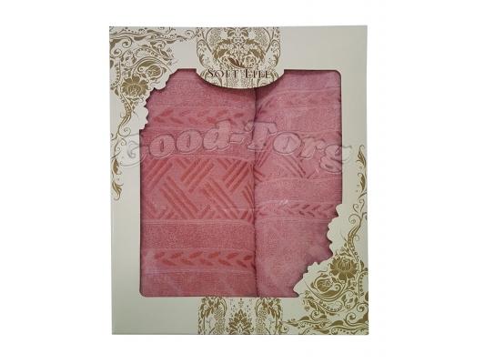 Набор полотенце Венгрия коралловый цвет. 2 шт. Баня 70×1.4 м + лицо 50×90