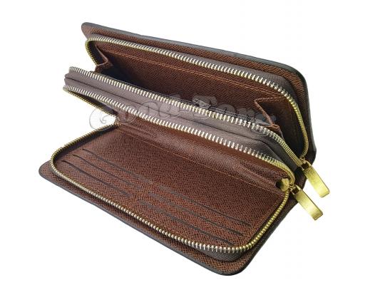 Клатч двойной VORPE мужской арт.611-01 коричневый 20.5×11×4 см.