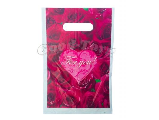 Пакет подарочный For you 20×30 см. (2 рисунка)  1 уп. = 100 шт.