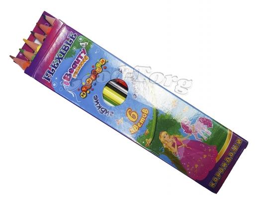 Карандаши Мультяшки гибкие 6 цветов (картинки для девочек)