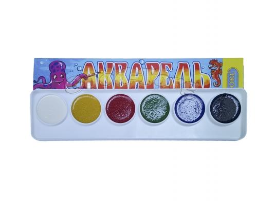 Акварель медовая 6 цветов в картонной коробке