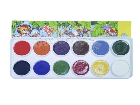 Акварель медовая 12 цветов в картонной коробке