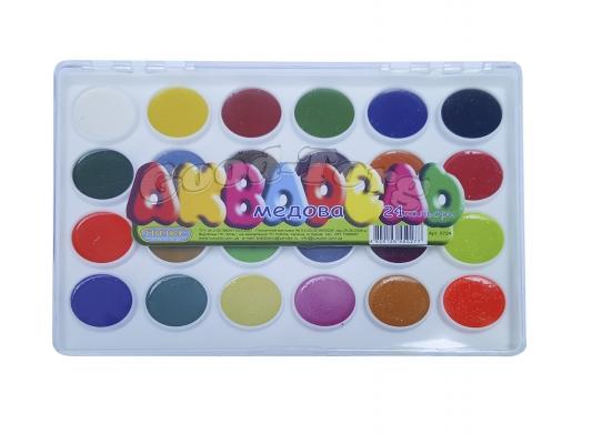 Акварель медовая 24 цвета в пластиковой коробке