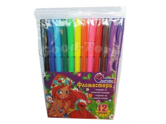 Фломастеры J.Otten 12 цветов рисунки для девочек