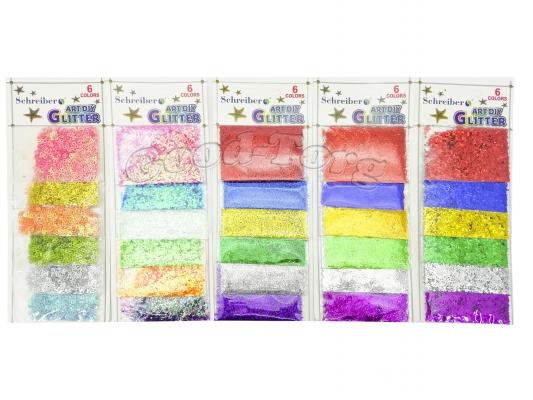 Блёстки на планшете шесть цветов