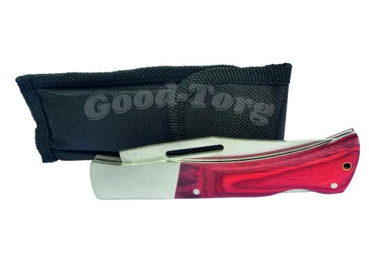 Нож складной в чехле №2, 210 мм., средний, пластиковая бордовая ручка
