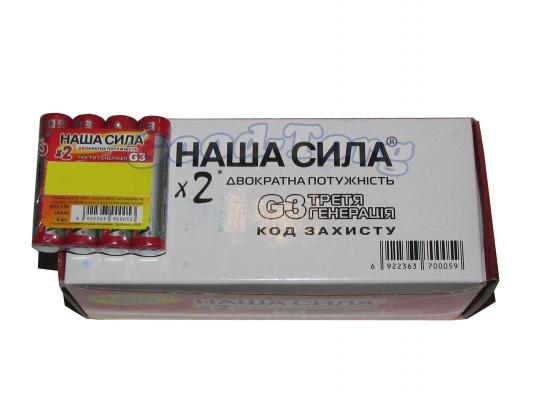 Батарейка Наша Сила, AA R6, палец, оригинал, 60 шт.