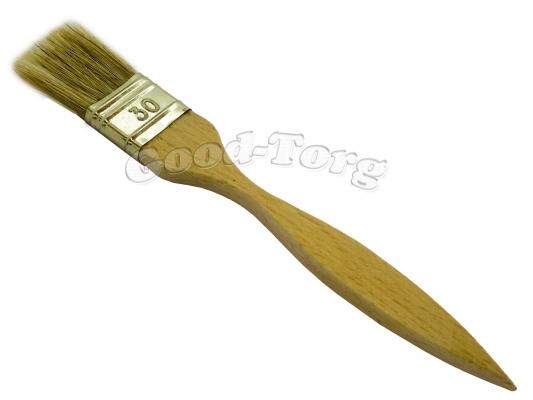 Кисть плоская, тонкая, №30, 19*3*0.5 см., деревянная ручка. 1 пач. = 5 шт.