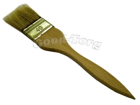 Кисть плоская, тонкая, №40, 19,5*4*0.9 см., деревянная ручка. 1 пач. = 5 шт.