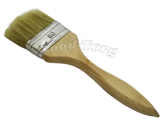 Кисть плоская, утолщенная, №60, 19,5*6*1.5 см., деревянная ручка. 1 пач. = 5 шт.