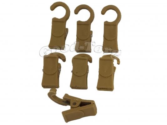Крючки для шторы, 3,5*1 см., пластиковый крючок, коричневый 100 шт.