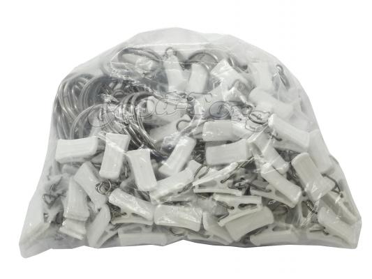 Набор прищепки с кольцами для шторы, 3,5*1 см, белый 100 шт.