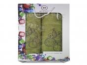 Набор полотенце Турция Cotton 2 шт. цвет хаки лицо 35*70 см. + баня 70*140 см.