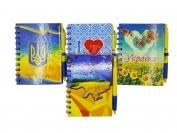 Блокнот на спирали 67 листов с ручкой символика Украина (цвета в ассортименте)