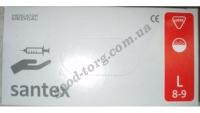 Медицинские перчатки Santex L 100 шт. Белый цвет (продажа упаковкой)